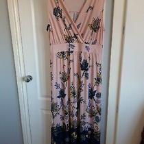 Nina Leonard Wrap Front Maxi Dress Size Uk Xl  Photo