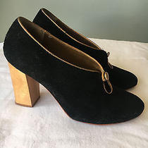 Nina Payne Black Suede and Wood Heels Size 8 / 39 285 Photo