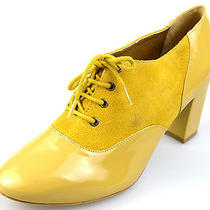 Nina Payne Womens 40 Terina Lace Up Suede Oxfords Yellow Photo