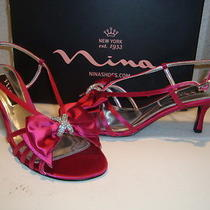 Nina Womens Nwb Georgia Dark Pink With Fantasy Crystal Sandals Shoes 8 M New Photo