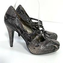 Nine West 6 Keno Heels Snake Embossed Grey Black Pumps Straps Platform Photo