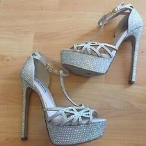 Nine West Aliana Blush Pink Rhinestone Heels Sandals Sz 6 Casual Photo