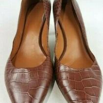 Nine West Alligator Snake Skin Style Pointed Toe Heels Brown- Size 9.5 Medium Photo