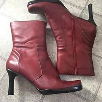 Nine West Ankle Boots Womens 7m Apartment Shoes Leather Work Casual Red Euc Photo