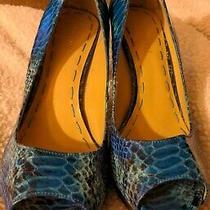 Nine West Aqua Blue Snakeskin High Heel Shoes Sz 8  Peep Toe Stilletto Photo