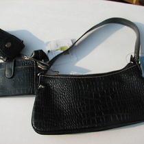 Nine West Black Croc Embossed Leather  4 Pcs Purse Bag  Nwt Photo
