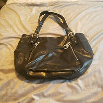 Nine West Black Faux Leather Hobo Purse With Silver Zippers - Med/large Photo