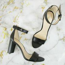 Nine West Black Leather Nora Ankle Strap Open Toe Pumps Heels Size 9.5 Formal Photo