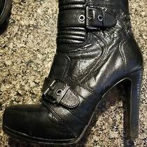 Nine West Black Leather Zip High Heel Ankle Boots Womens Size 8 Photo