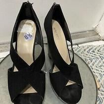 Nine West Black Platform Open Toe Wedge Heels Black Size 8.5 Photo