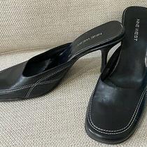 Nine West Black Square Toe Mules W/ White Stitching Womens Shoes Heels Photo