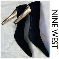 Nine West Black Suede 4 Heels Gold Mirrored Look Never Worn No Box or Tags 7.5m Photo