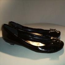 Nine West Black Vegan Patent Leather Ballet Flats Low Heel Shoes Silver Buckle 8 Photo