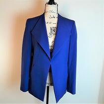 Nine West Blue Asymmetrical Hem Blazer Open Front Kiss Front Size 6 Photo