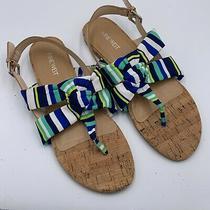 Nine West Blue Green Stripe Thong Sandals Sz 10 Womens Cork Heel New No Box  Photo