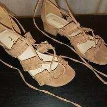 Nine West Blush Color Suede Ankle Wrap Sandal Size 7.5m Shoes Photo