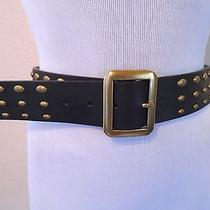Nine West Boho Coachella Chic Black Brass Tone Studded Leather Layering Belt Sm Photo