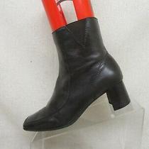 Nine West Brown Leather Zip Fashion Heeled Ankle Boots Booties Size 7 M 0408 Photo