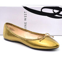 Nine West Classica Gold Leather Bow Ballet Flats Shoes Womens 6.5 M New in Box Photo