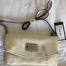 Nine West Crossbody Handbag Purse Off White/silver Hardware Clutch Shoulder Bag Photo