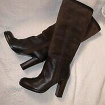 Nine West Emilio Brown Leather & Suede Tall Pull on Boots 4