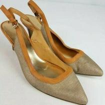 Nine West Enthusiast Women Beige Gold Tan Pointy Toe Slingback Heels Shoe 7m Photo