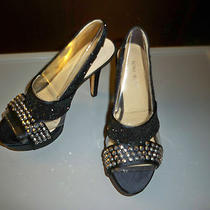 Nine West Fancy Night Black and Rhinestone Sandals Sz 7 1/2 Photo