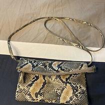 Nine West Faux Snake Skin Tan and Black Crossbody Purse Bag Clutch Guc  D54 Photo
