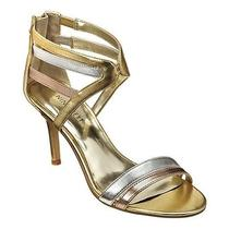 Nine West Geezlouis Gold Silver Copper Strappy Heel Sandal Formal Size 8.5 M Nib Photo