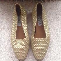 Nine West Gold Woven Leather Flats Loafers. Size 9m Photo