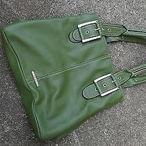 Nine West Green Leather Tote Handbag Satchel Shoulder Bag Purse Euc Photo