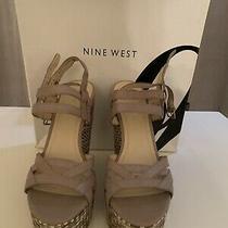 Nine West Grey/taupe Wedge Sandals Nib Sz 7.5m Photo