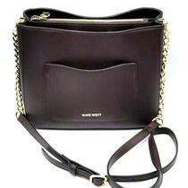 Nine West Handbag Crossbody  Adjustable Strap Brown Burgundy Purse Photo
