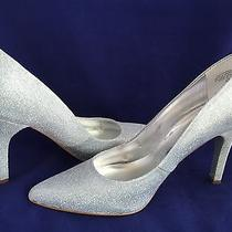 Nine West Heels Pumps Silver Shoes Sz 8.5 Wedding Bridal Pointy-Toed Photo