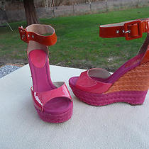 Nine West Hot Pink Patenttall Jute Wedge Sandals Shoes With Ankle Strap Sz 6.5m Photo