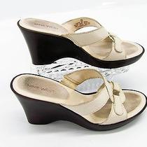 Nine West Hubbell Womens Off White Ivory Leather Wedge Slide Sandal Shoe 8m U5 Photo