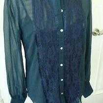 Nine West Jeans Blouse Top With Layering Tank Size M Blue New With Tag Photo