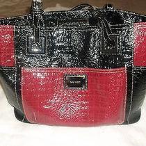 Nine West Ladies' Black/red Blocked  Croc Heritage Tote Handbag Crocodile Print Photo