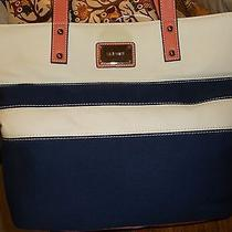 Nine West Large Tote Purse Blue Peach Off White Nice Photo