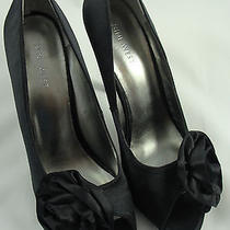 Nine West Lilyao Womens Black Satin Wedding Shoes Heels Pumps  W/flower Size 8.5 Photo