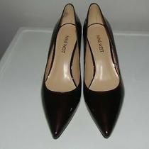 Nine West Margot Faux Patent Leather Burgundy Pumps Heels Sz 6.5m Euc Photo