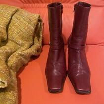 Nine West Montage Wine Burgundy Red Leather Heels Zip Booties Size 8.5 M Photo