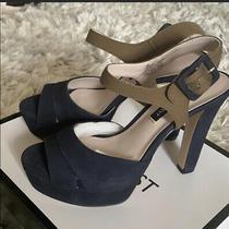 Nine West Navy Suede  Khaki Green Strap Platform Sandal Size 8 New in Box Photo