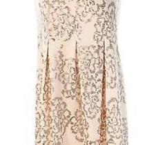Nine West New Blush Pink Floral Gold Sequined Women's 6 Sheath Dress 99 032 Photo