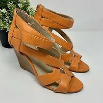 Nine West Pacifico Wedge Heels Ankle Zipper Peep Open Toe Orange Pumps Size 7 Photo