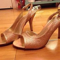 Nine West Rose Gold Glitter Open Toe Sandals Heels Sz 6 Prom Wedding Party Shoe Photo