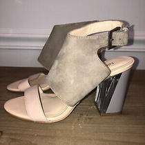 Nine West Sandals Size 5.5 Woman Grey Suede With Blush Pink Block Heel. Photo