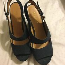 Nine West Sandals Womens 7 Blue Platform Wedge Heels Slides  Photo
