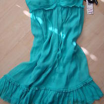 Nine West Sexy Aqua Green Blue Flowy Silk Strapless Party Dress Nwt Sx 6 150 Photo