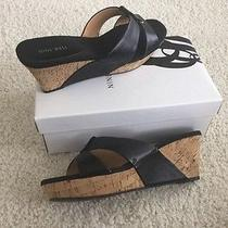 Nine West Shoes 9.5m Slides Wnmordorm Fashion Cork Wedge Black Leather New W/box Photo